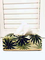 PORCELAINE TISSUE HOLDER - PALM LEAVES DESIGN