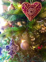 JEWELLED CHRISTMAS VELVET TRIDENT DECORATION