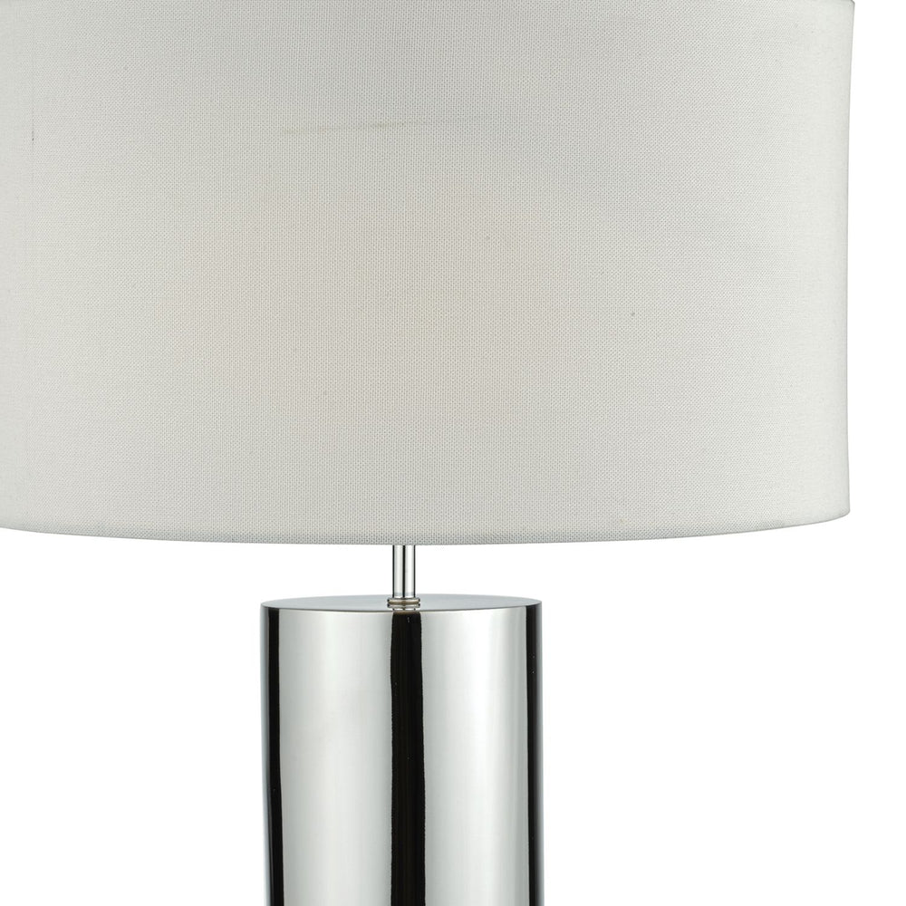 TWO TONE POLISHED AND BRUSHED CHROME TABLE LAMP WITH SHADE