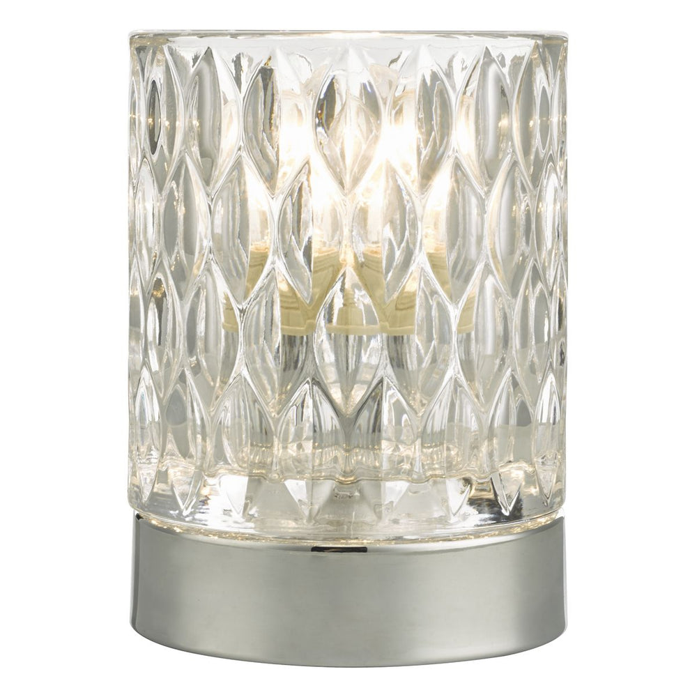 TOUCH TABLE LAMP POLISHED CHROME & GLASS