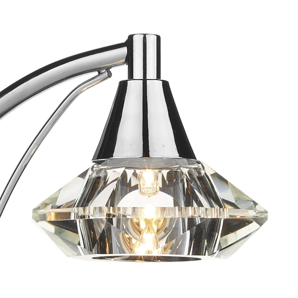 ARCHED POLISHED CHROME & CRYSTAL TABLE LAMP