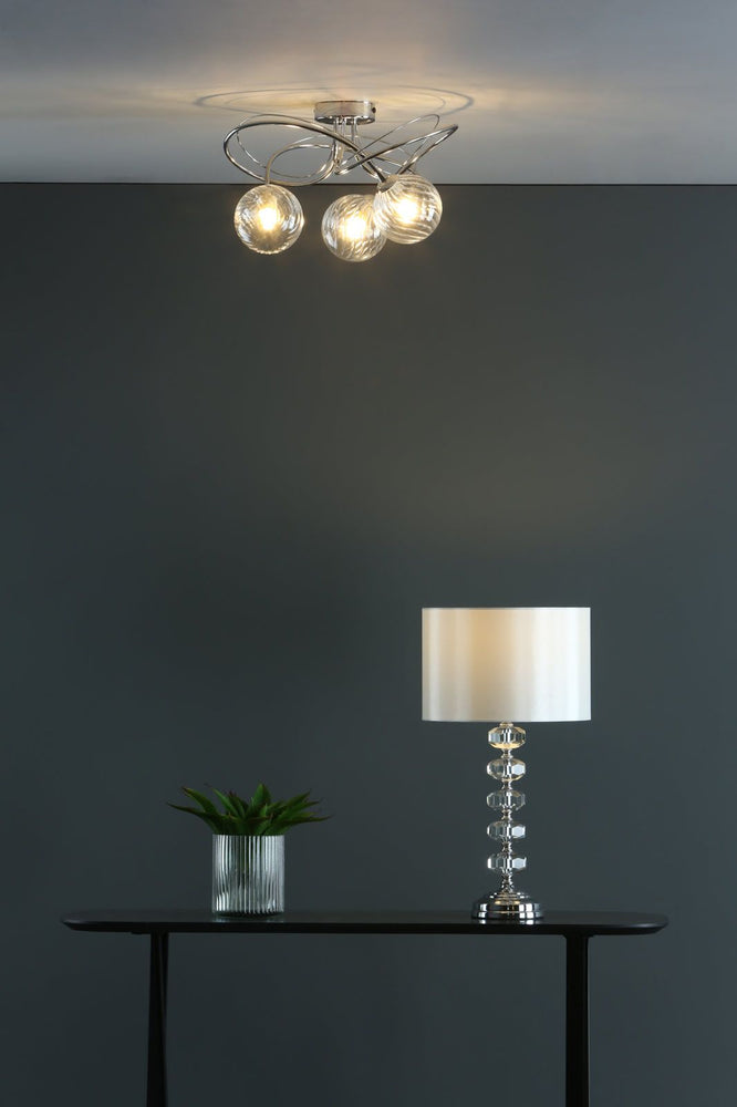 POLISHED CHROME AND CRYSTAL LAMP WITH SHADE