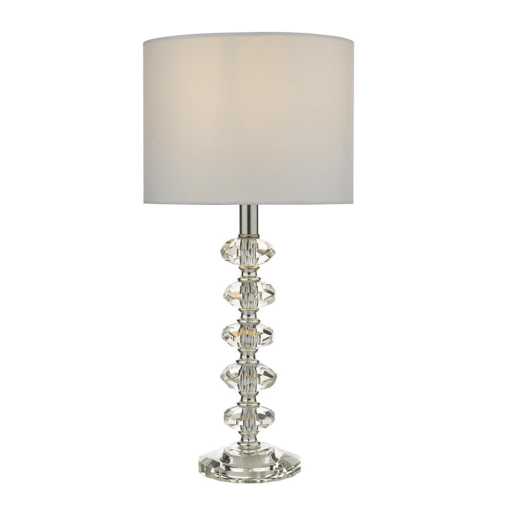 CRYSTAL & POLISHED CHROME TABLE LAMP WITH SHADE