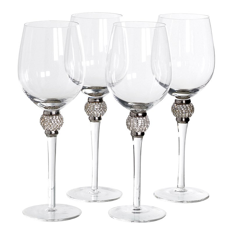 SILVER DIAMANTE WHITE WINE GLASS SET x 4