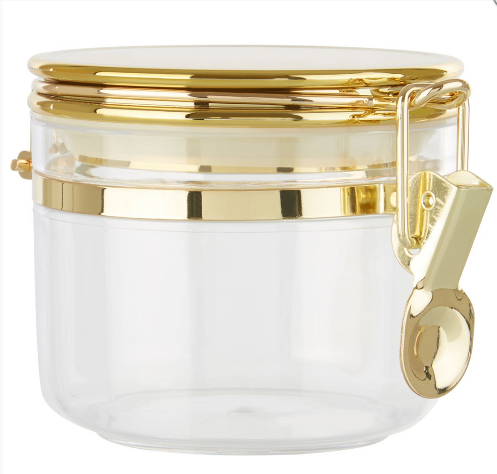 SMALL TRANSPARENT STORAGE JAR WITH GOLD AIRTIGHT LID
