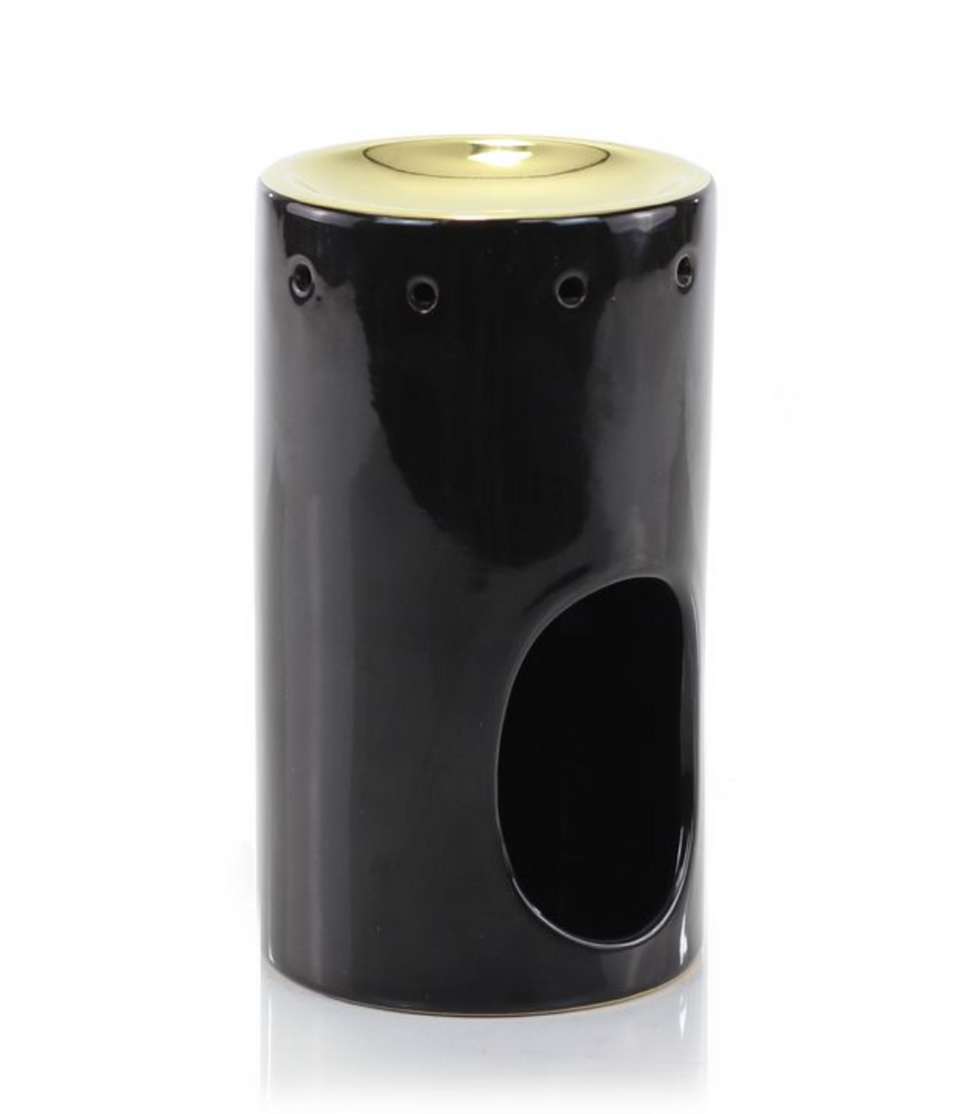 CERAMIC OIL BURNER - TOWER BLACK & GOLD