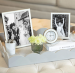 SILVER & WHITE ENAMEL PHOTO FRAME 4 X 6