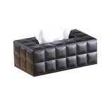 CLASSIC QUILTED WHITE OR BLACK LEATHER TISSUE BOX