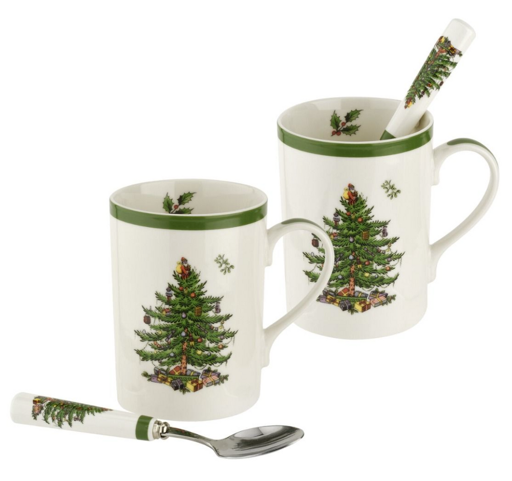 CHRISTMAS MUG AND SPOON SET X 2