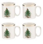 CHRISTMAS TREE GOLD MUG SET X 4