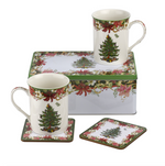 FIVE PIECE CHRISTMAS MUGS & COASTER SET IN BOX