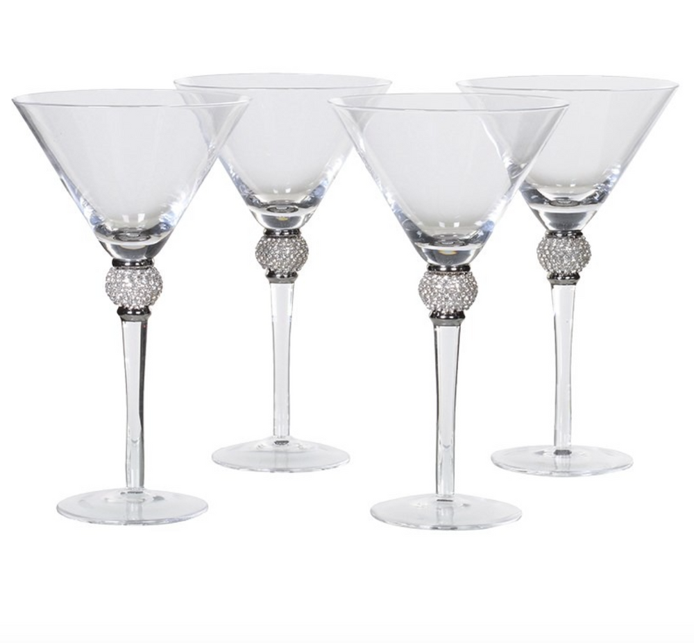 SILVER DIAMANTE COCKTAIL GLASSES SET X 4