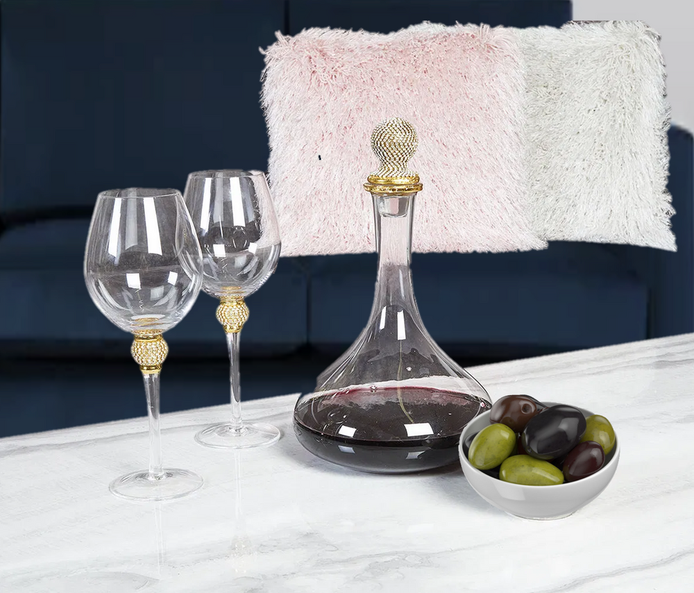 GOLD DIAMANTE RED WINE GLASS SET x 4