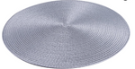 BRAIDED WOVEN ROUND SILVER/GREY PLACEMATS SET x 4