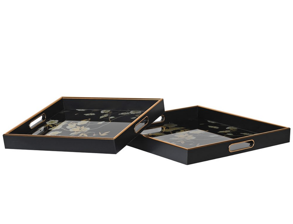 FLORAL BLACK TRAY SET X 2