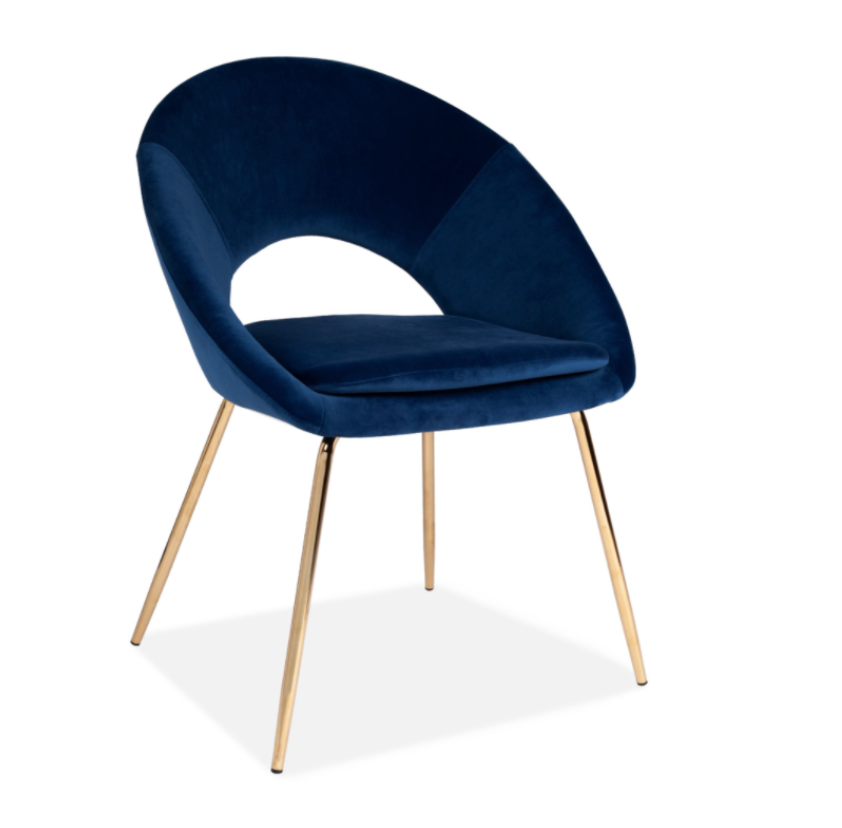 PAIR DEEP BLUE VELVET DINING CHAIRS WITH GOLD LEGS