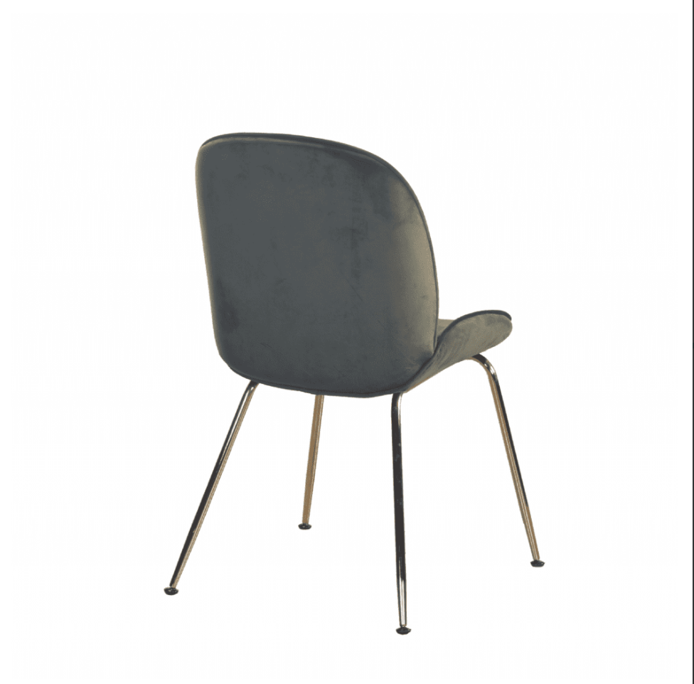 BEETLE STYLE DINING CHAIRS WITH GOLD LEGS x 2 - OLIVE GREEN