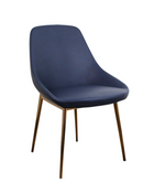SET OF 2 CELINE DINING CHAIRS IN BLUE LEATHER