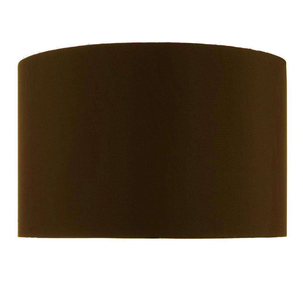 FAUX SILK DARK BROWN  DRUM SHADE 38CM