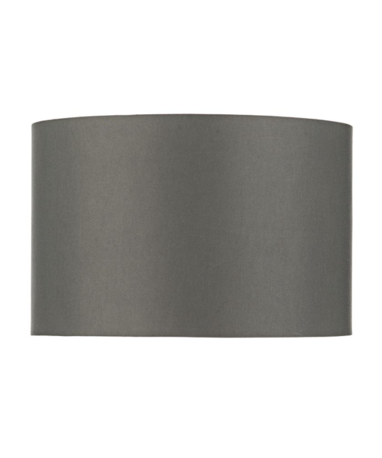 GREY SATIN DRUM SHADE 38CM