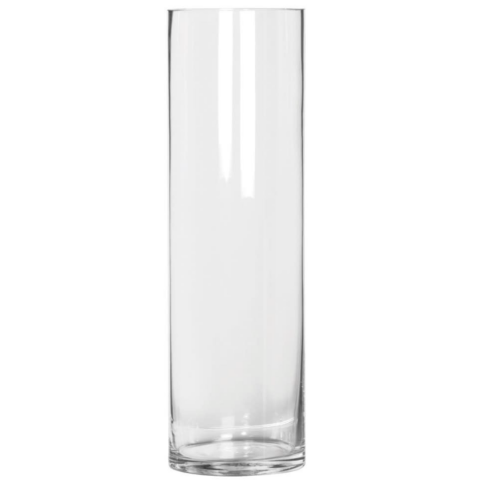 TALL CLEAR GLASS CYLINDER VASE