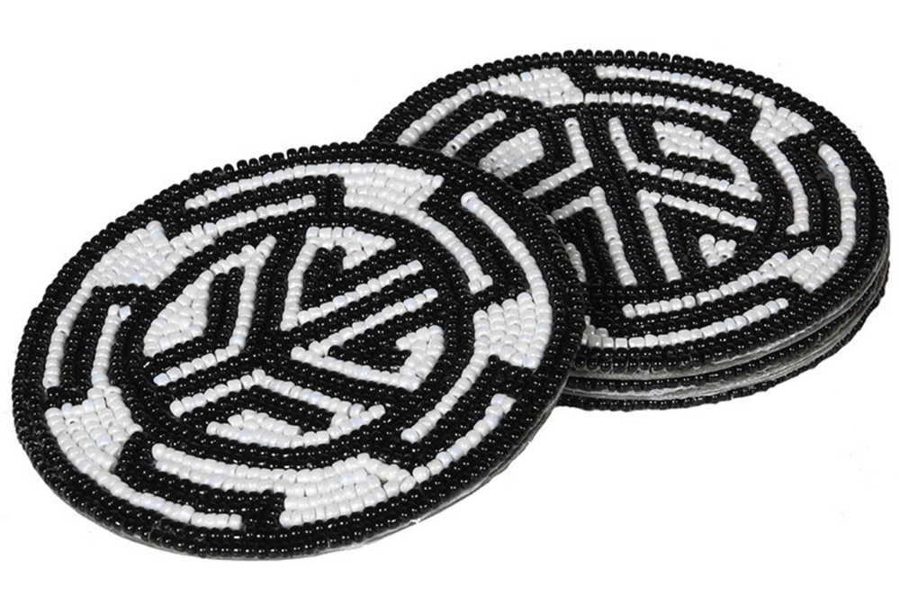 BEADED AZTEC COASTERS S/4