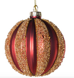 RED & GOLD BEADED STRIPE BAUBLE