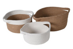 WHITE AND NATURAL WOVEN BASKETS SET X 3