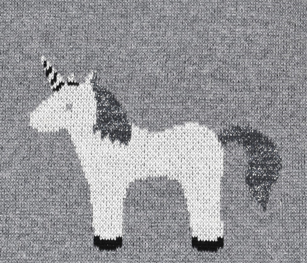 GREY KNITTED COTTON UNICORN THROW/BLANKET