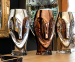 SILVER & GOLD GLASS FACE VASES