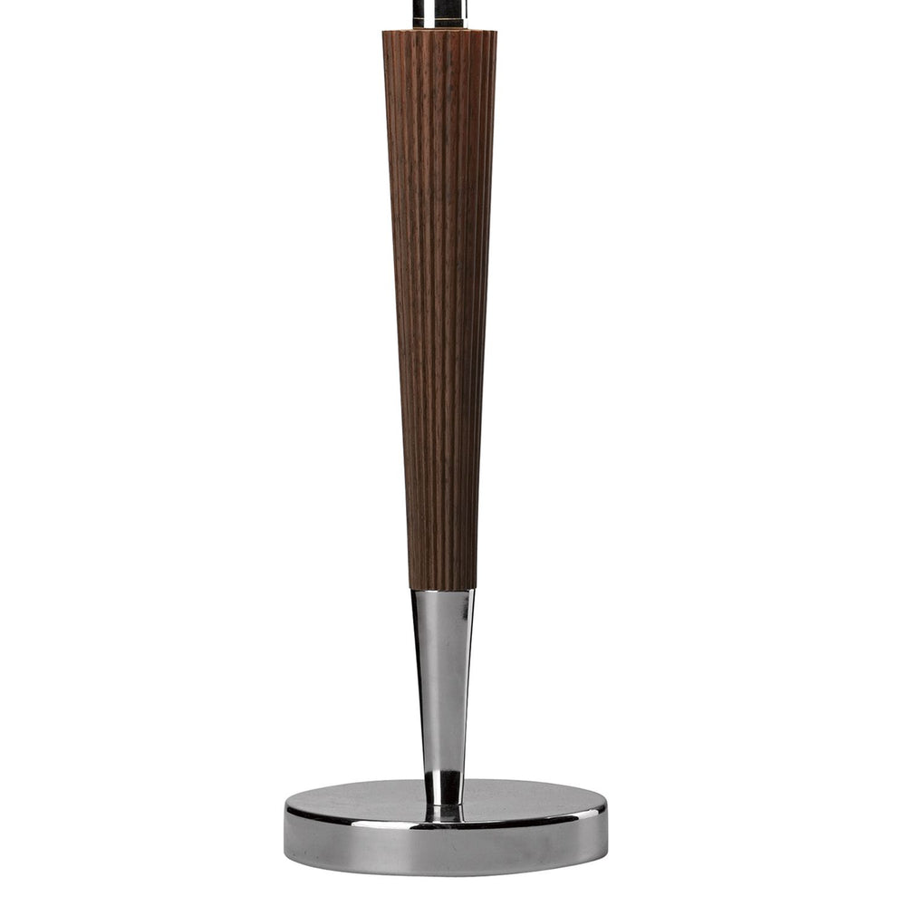 DARK WOOD AND CHROME TABLE LAMP WITH SHADE