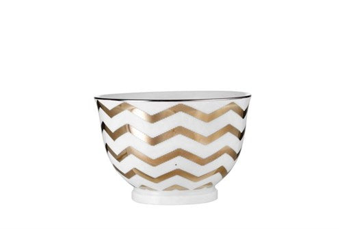 ADRIENNE SMALL PORCELAIN SERVING BOWL - GOLD