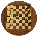 ROUND WOODEN CHESS WITH DRAWERS