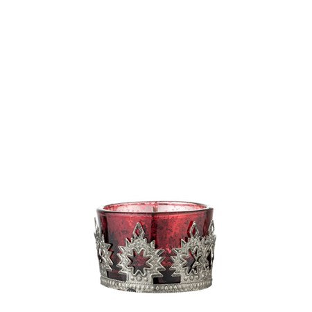 POMEGRANATE AND SILVER VERDIA MINI VOTIVE SET X 3