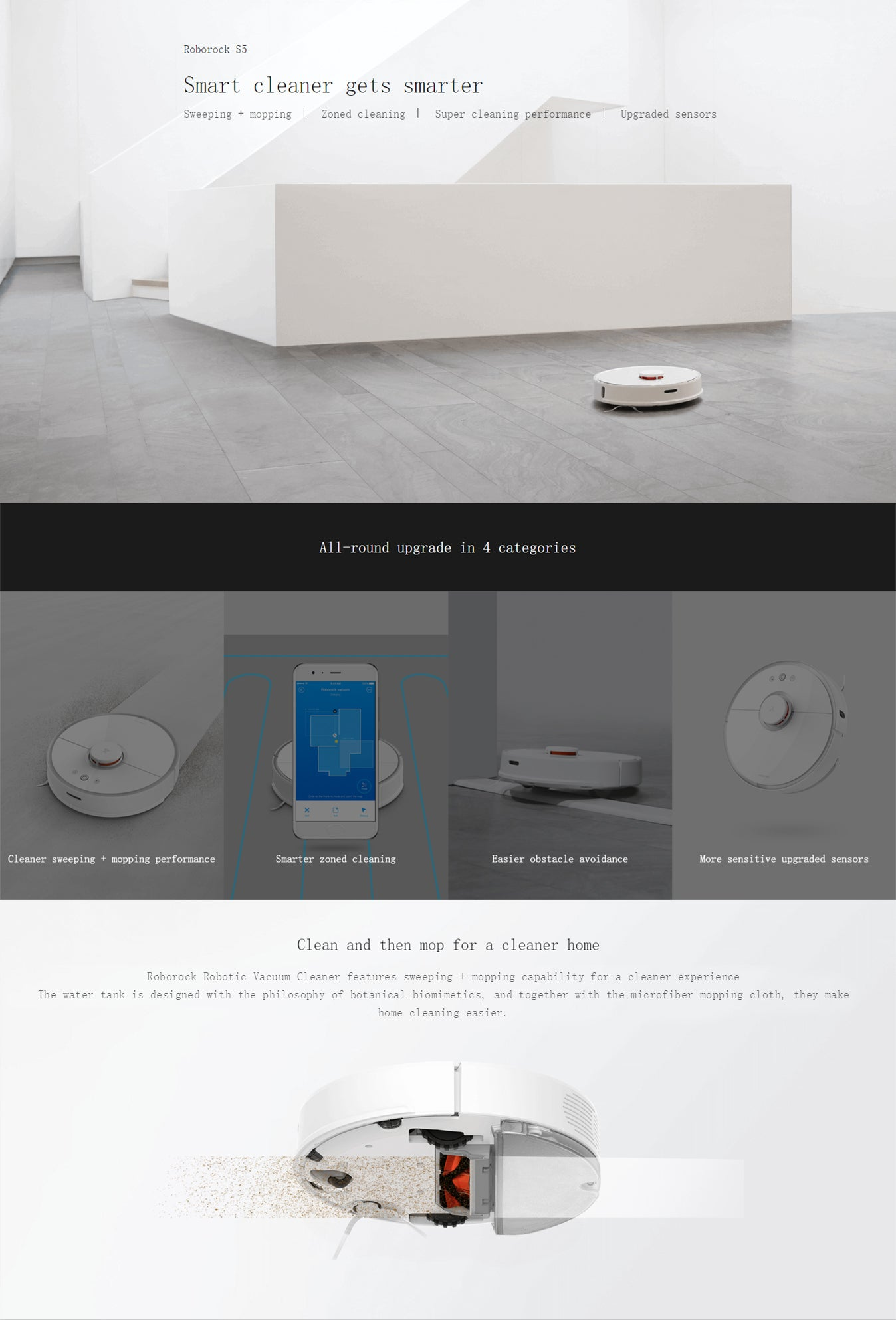 Roborock S5 Xiaomi Mijia Robot Vacuum Cleaner 2 for Home Automatic Sweeping  Dust Sterilize APP Smart Planned Wash Mop
