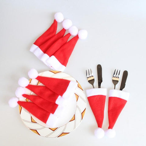 Image of 10 Pcs Christmas Hat Fork Spoon Pocket Bag