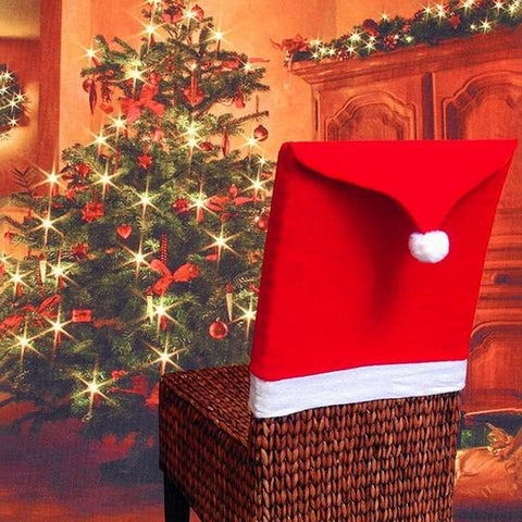 Image of COVER CHRISTMAS HAT DECORATION SANTA CLAUS CHAIR