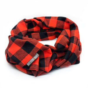 Red Orange/Black Check Infinity Scarf