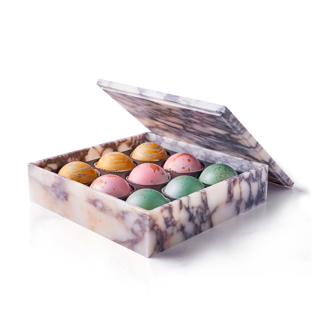 Marble Chocolate Truffle Box, 9 pc. - Flair Chocolatier