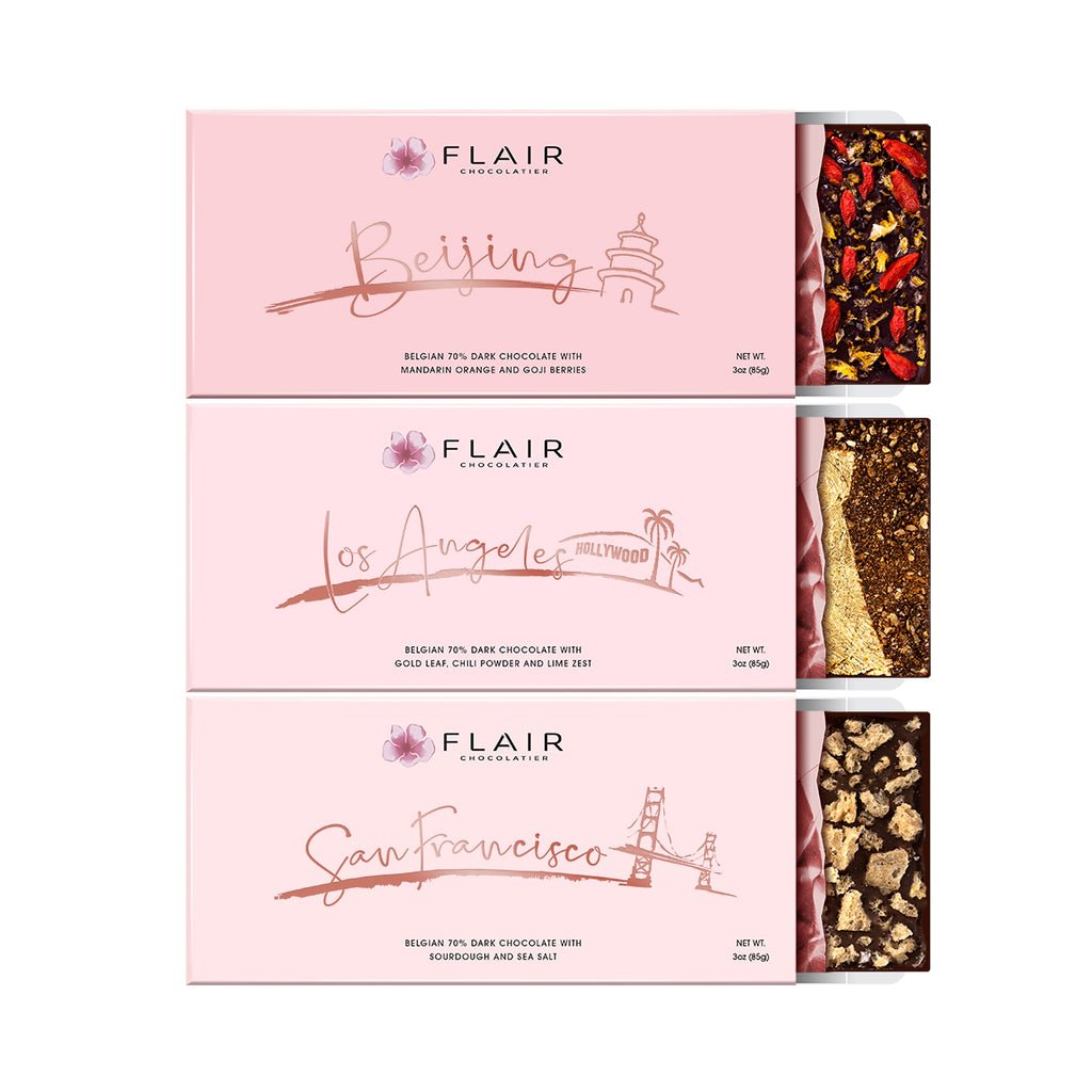 Belgian Dark Chocolate, 3-Set - Flair Chocolatier