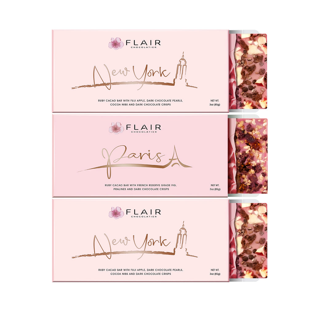 Belgian Ruby Chocolate, 3-Set (Paris & New York) - Flair Chocolatier