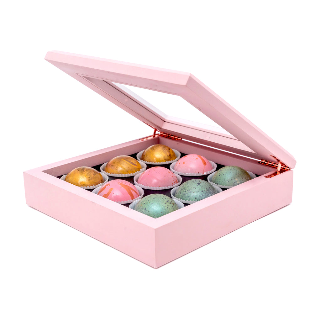 Maple Wood Box of Chocolate Truffle, 9 pc. - Flair Chocolatier