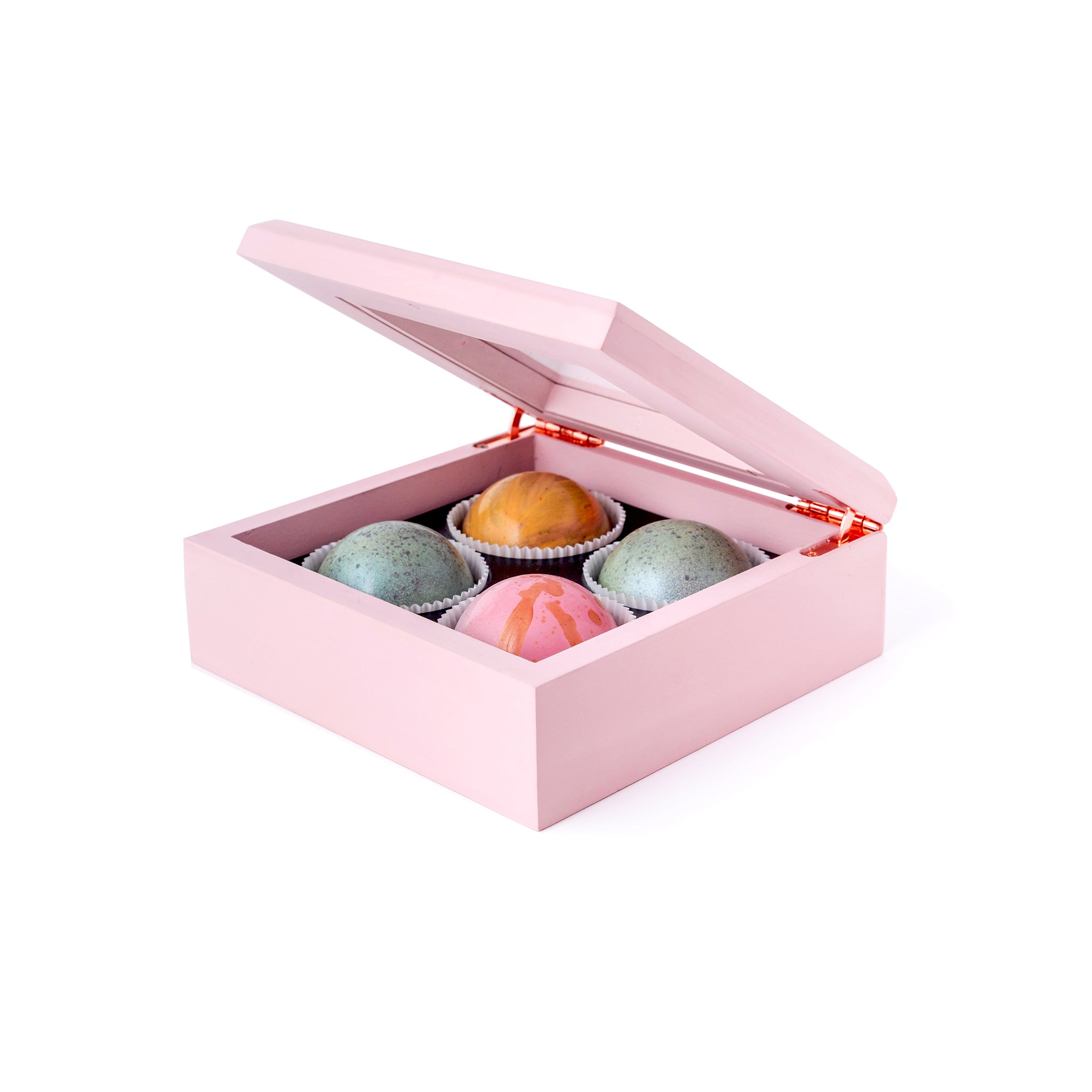 Maple Wood Box of Chocolate Truffles, 4 pc. (Limited Edition) - Flair Chocolatier