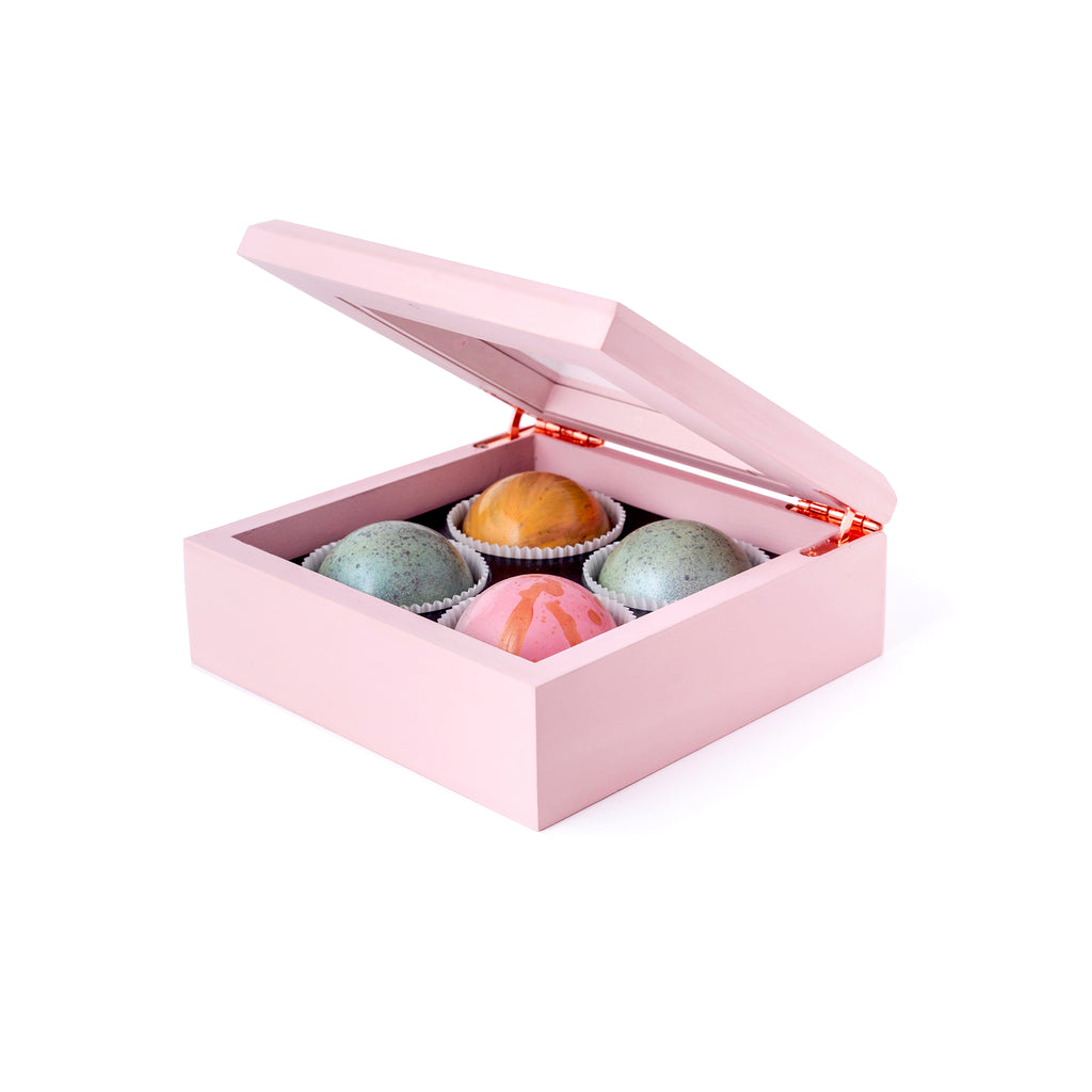 Maple Wood Box of Chocolate Truffles, 4 pc. - Flair Chocolatier