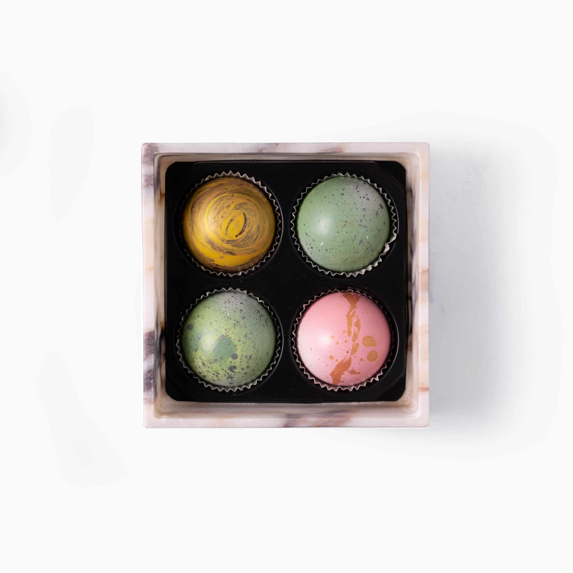 Marble Chocolate Truffle Box, 4 pc.