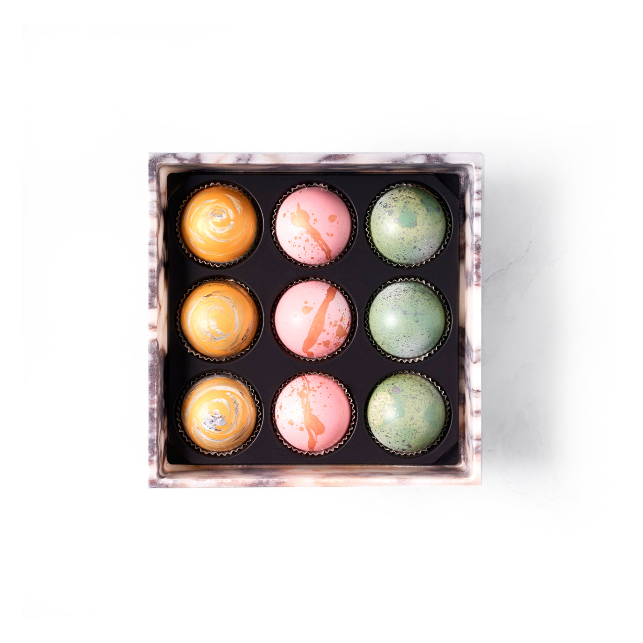 Marble Box of Chocolate Truffles, 9 pc. (Limited Edition) - Flair Chocolatier