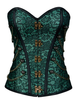 Steampunk Gothic Jacquard Brocade Overbust Corset with Chains