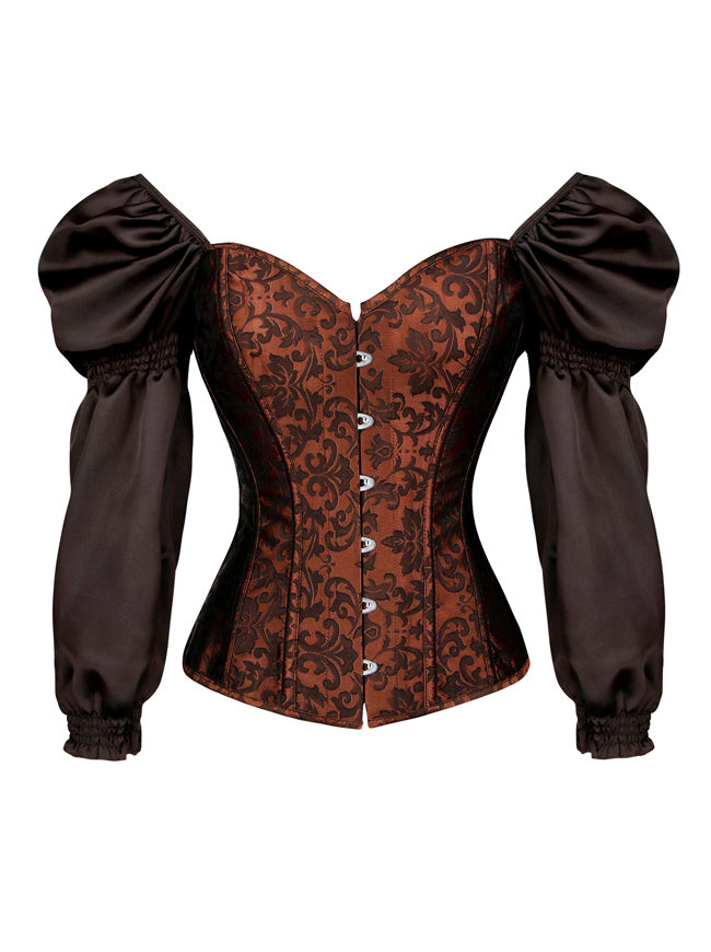 Renaissance Victorian Brocade Long Sleeves Overbust Corset Top