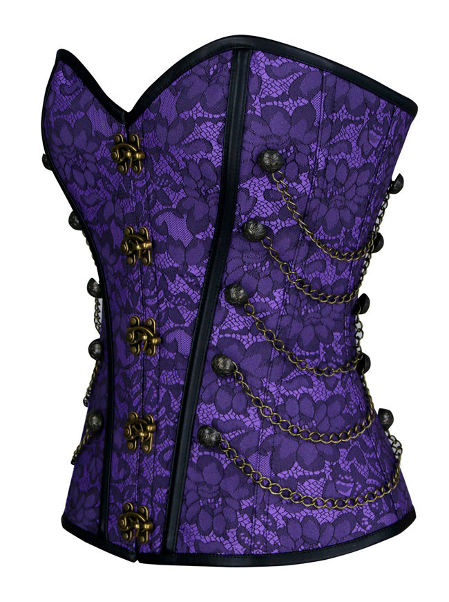Women's Fashion Jacquard Steel Boned Busk Closure Waist Cincher Bustier Corset with Chains Purple Side View