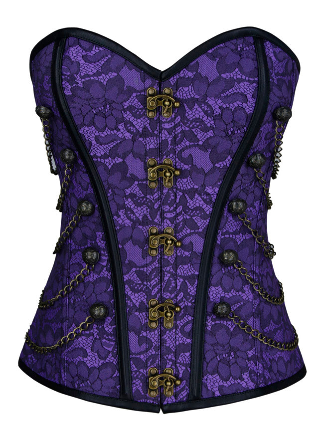 Steampunk Gothic Jacquard Brocade Overbust Corset with Chains Main View